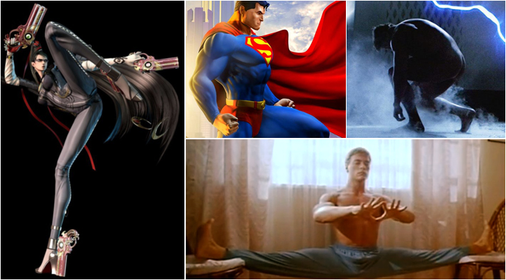 Links: Bayonetta - Oben: Superman / Terminator - Unten: Jean-Claude Van Damme