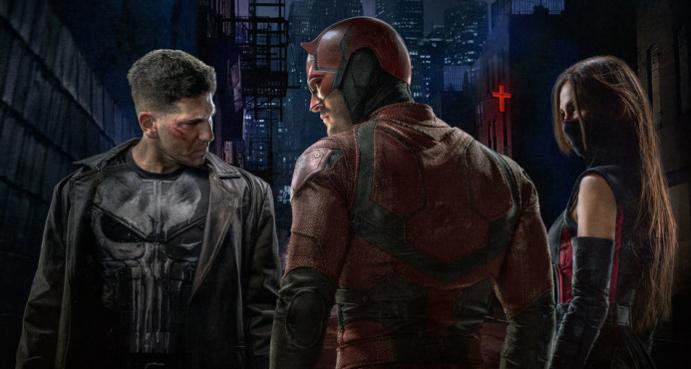 von links: Punisher, Daredevil, Elektra
